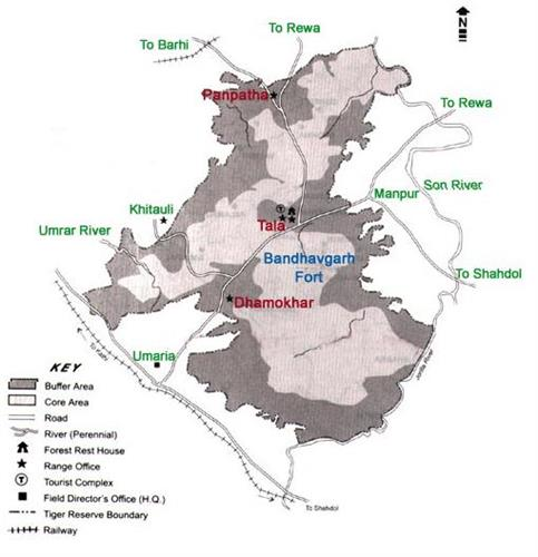 Map of Bandhavgarh National Park