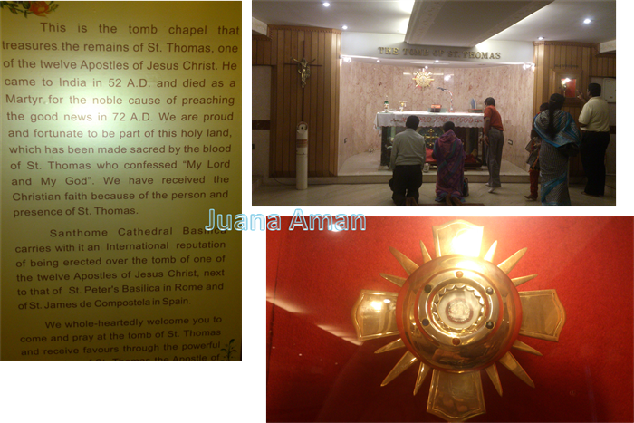 Inside the chapel at St.Thome - Tomb & Relic of the apostle