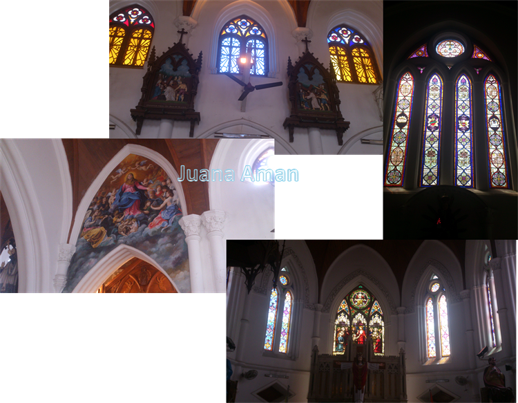 Stained glass murals in St. Thome Cathedral