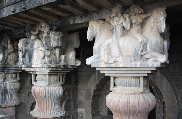 Sculptures above the Pillars in Bedse Caves near Pune City