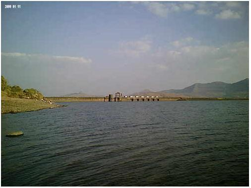 A View of Pavna Dam at Lonavala
