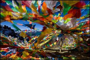 Colourful Tibetan prayer flags