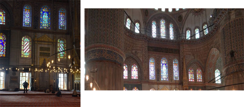 Prayer hall and stained glass windows in the Blue Mosque