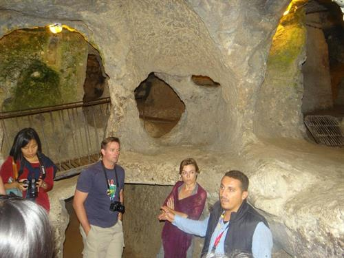 Our guide with tourists at Kaklik Caves