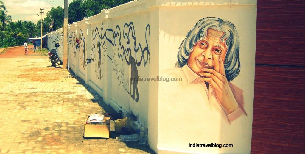 A Wall painting of Abdul kalam