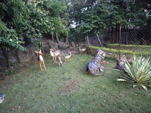 sculptures in garden