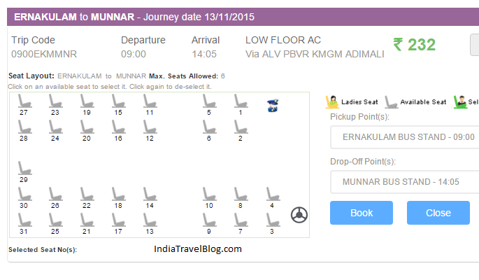 Low floor AC bus from Ernakulam to Munnar