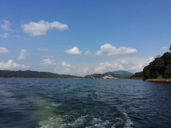 View of Umiam lake while boating