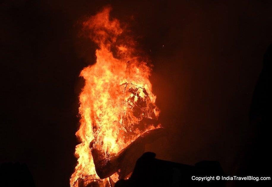 A side view of burning Santa at Fort Kochi during New Year