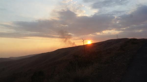 Sunset near the caves at Sohra
