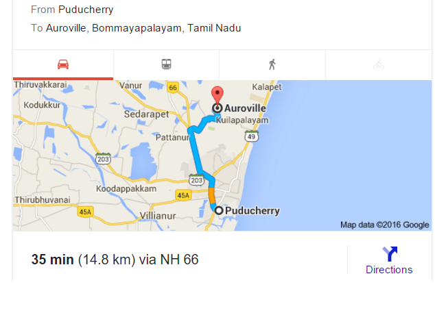 Puducherry to Auroville map