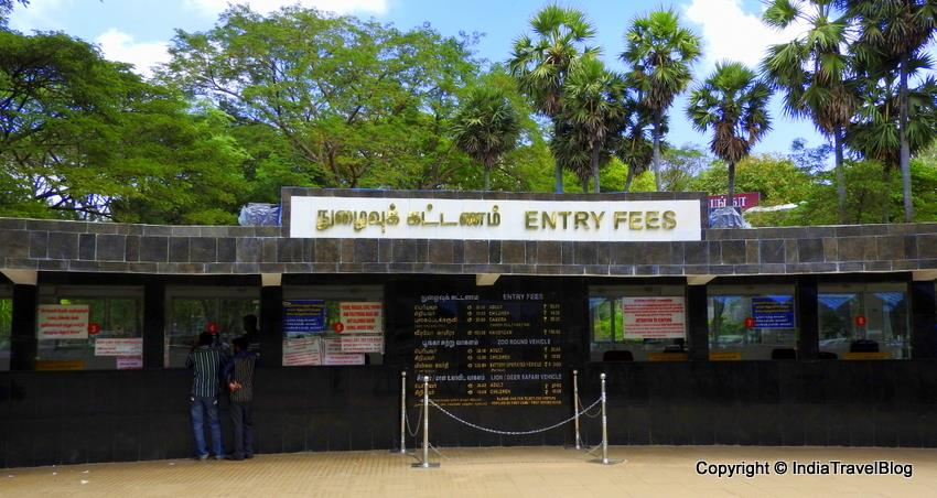 Ticket counter of the zoo in Chennai