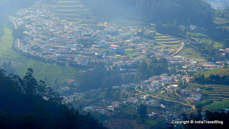 An aerial view of Ooty