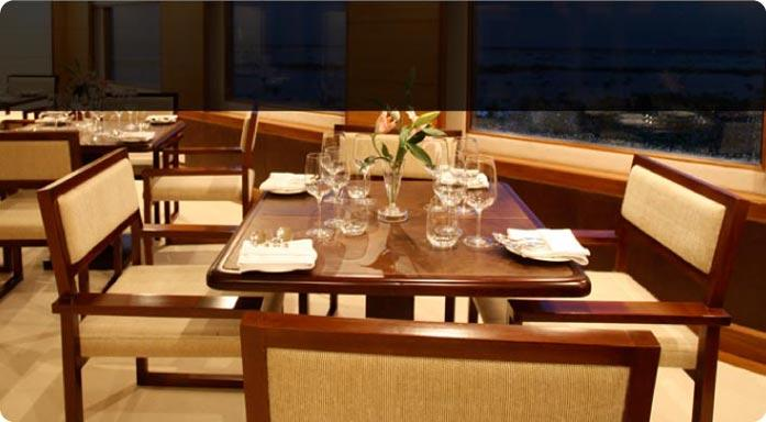 Dining hall of the MV Apsara Cruise Liner