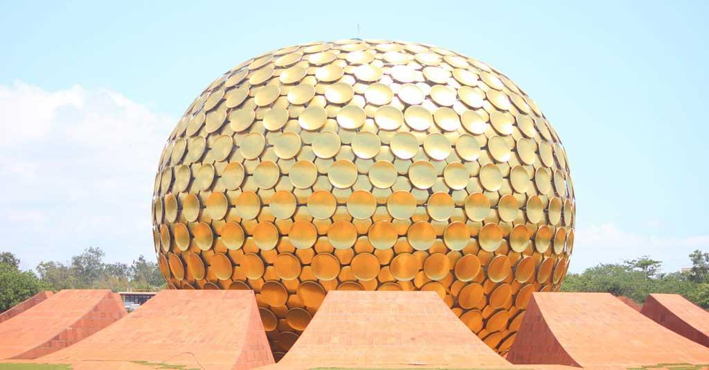 Beautiful view of Matrimandir Pondicherry