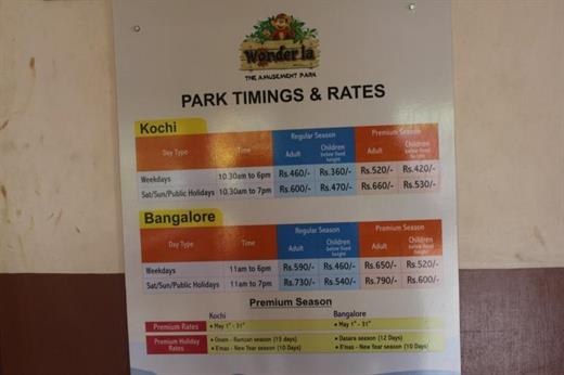 Wonder La Park Timings and Admission Rates