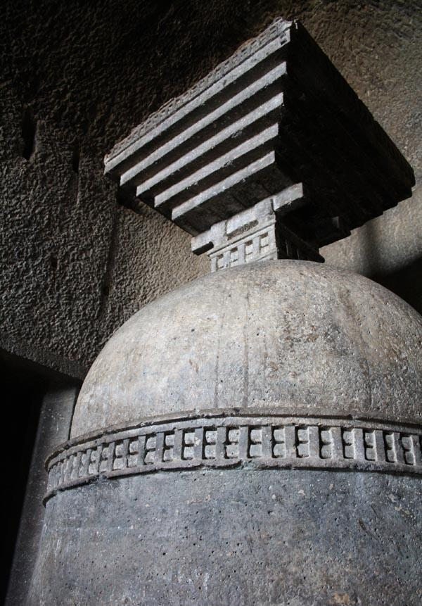 Stupa in Chaitya Hall in Bedse Caves near Pune City