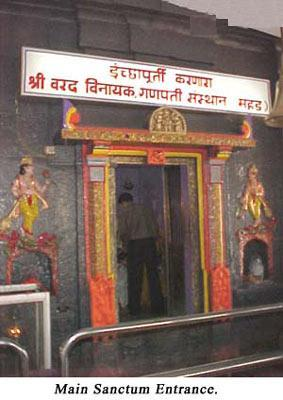 Main Sanctum of Varada Vinayak Temple at Mahad near Pune