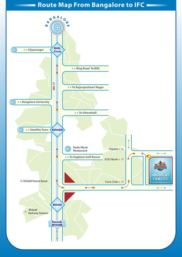Route Map of Innovative Film City theme park near Bengaluru