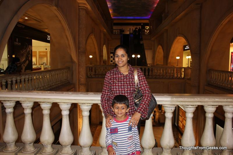 My wife and son at UB City, Bangalore